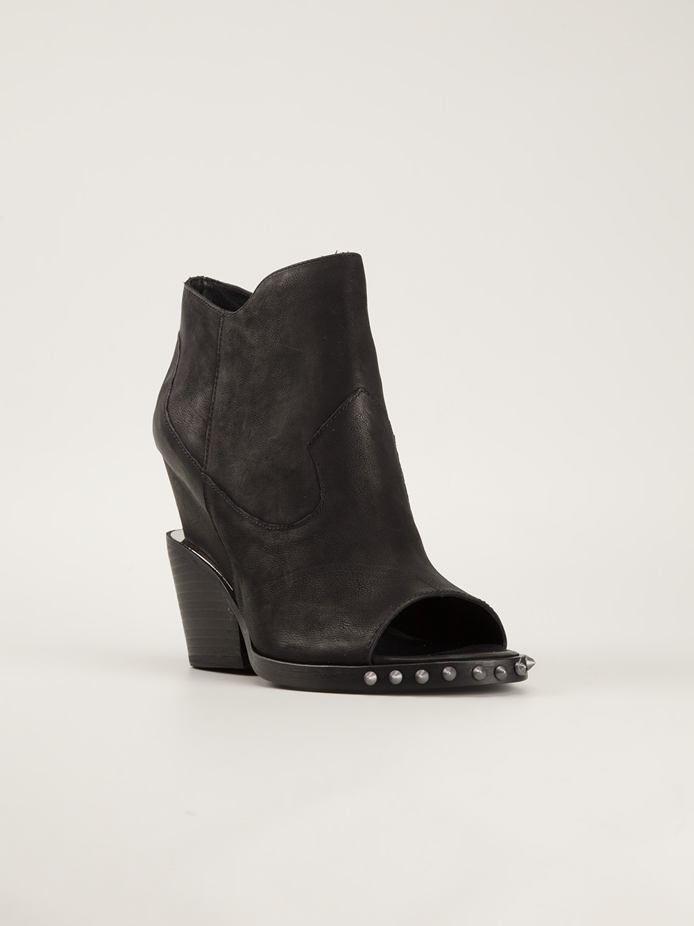Ash Open Toe Ankle Boots in Black | Lyst