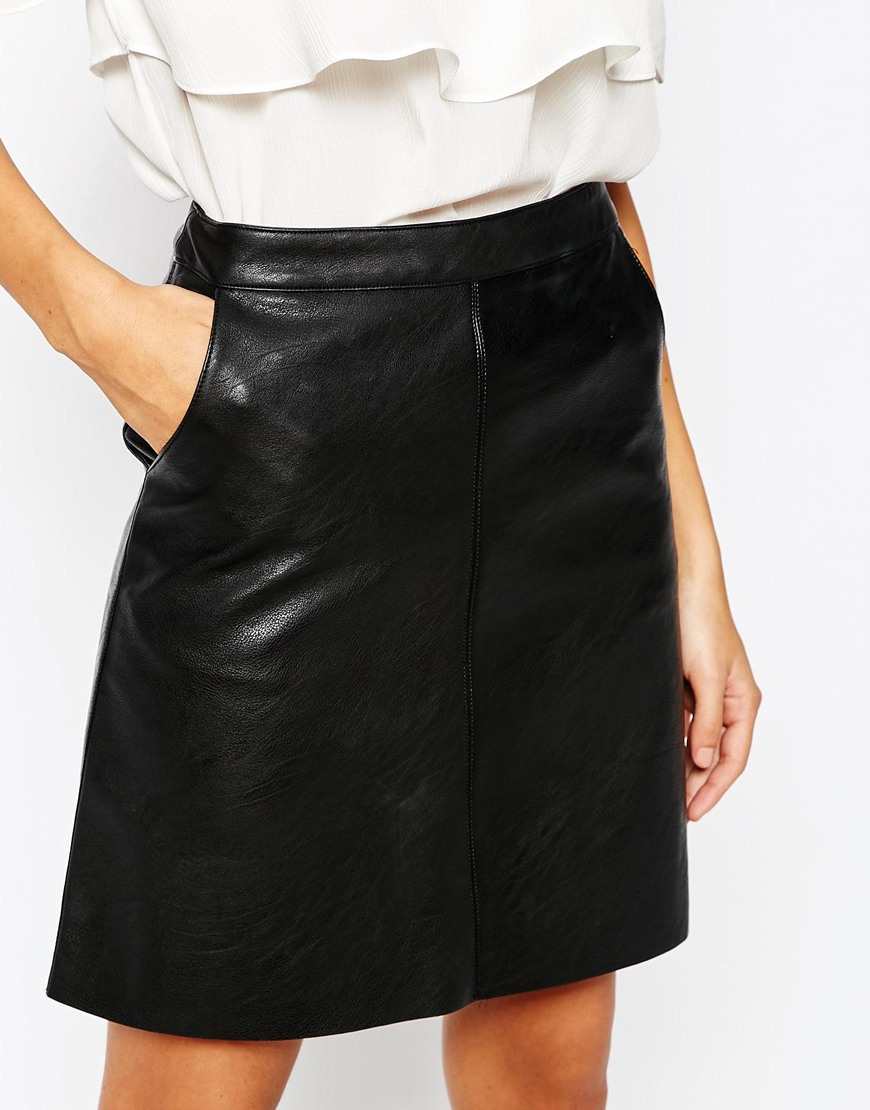 Warehouse Faux Leather A Line Skirt - Black in Black | Lyst