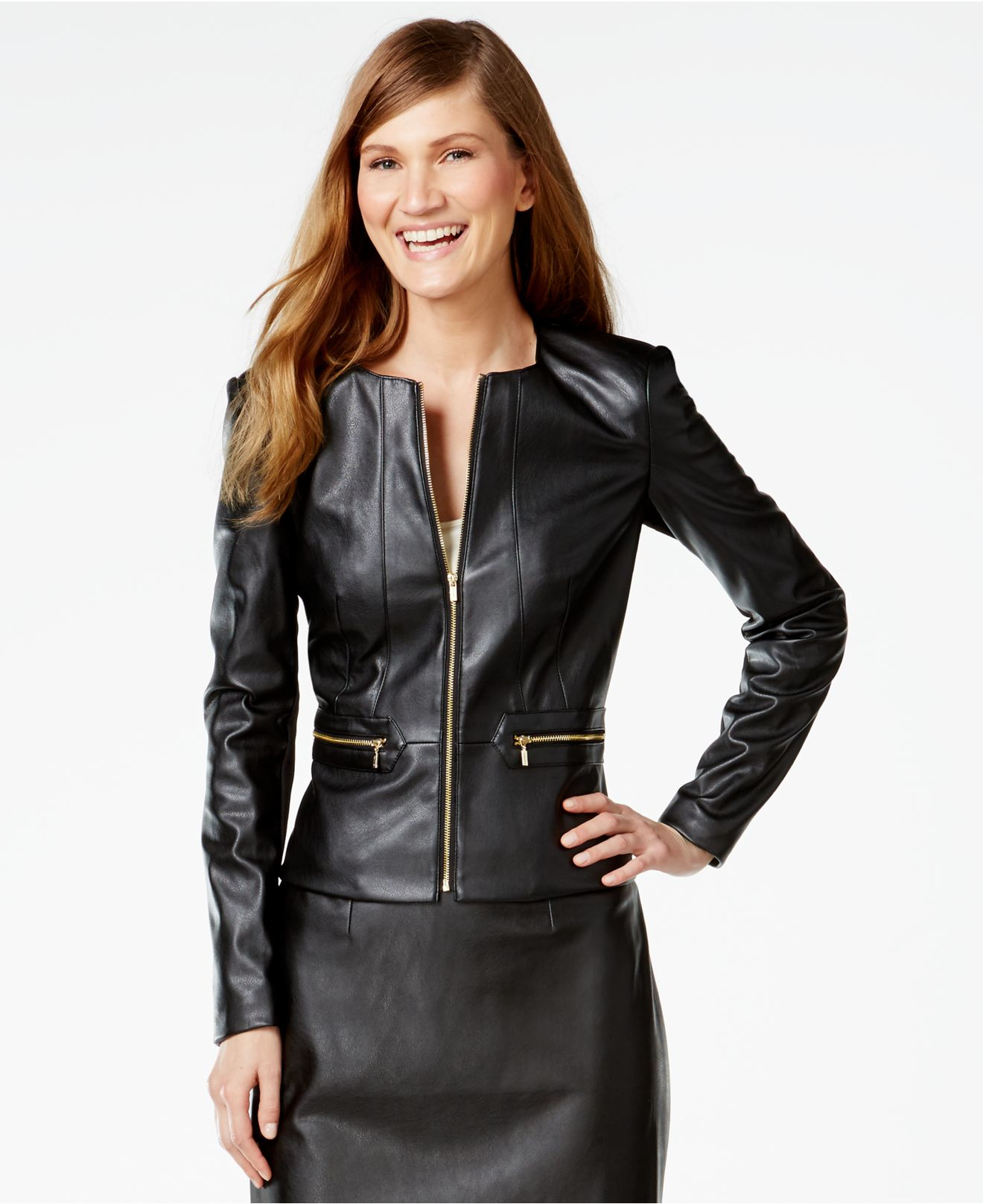 calvin-klein-black-faux-leather-zip-fron