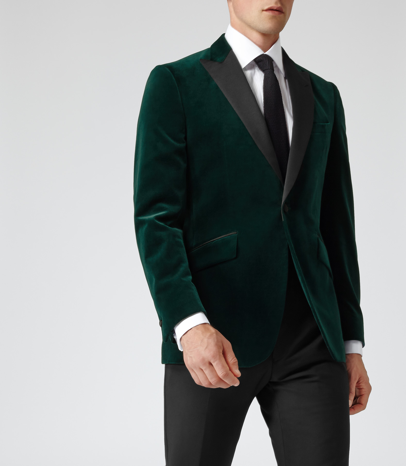 Blazers Jackets Mens: Reiss Jenson Slim-Fit Velvet Blazer In Green For Men