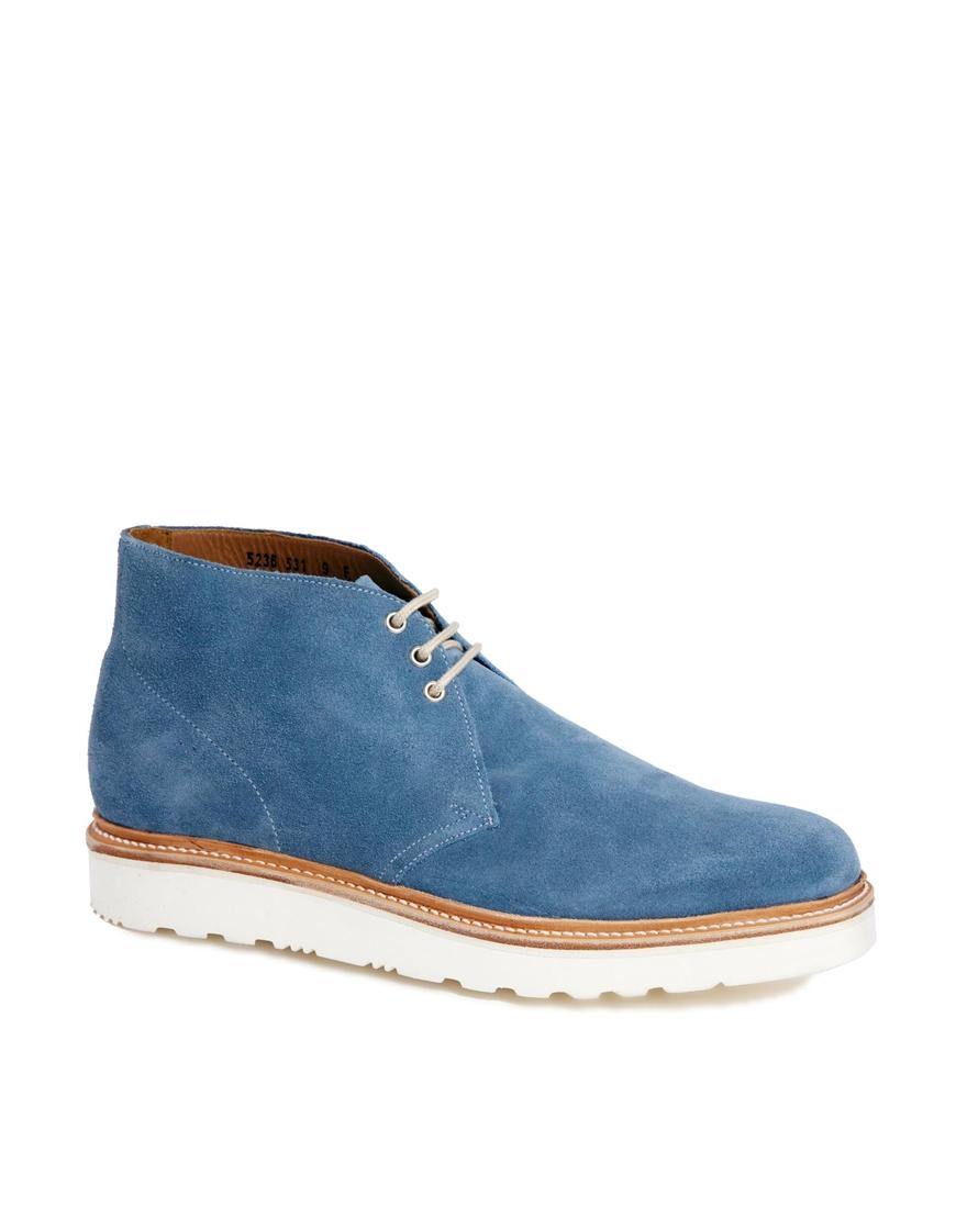 grenson allen wedge sole desert boots in blue for lyst