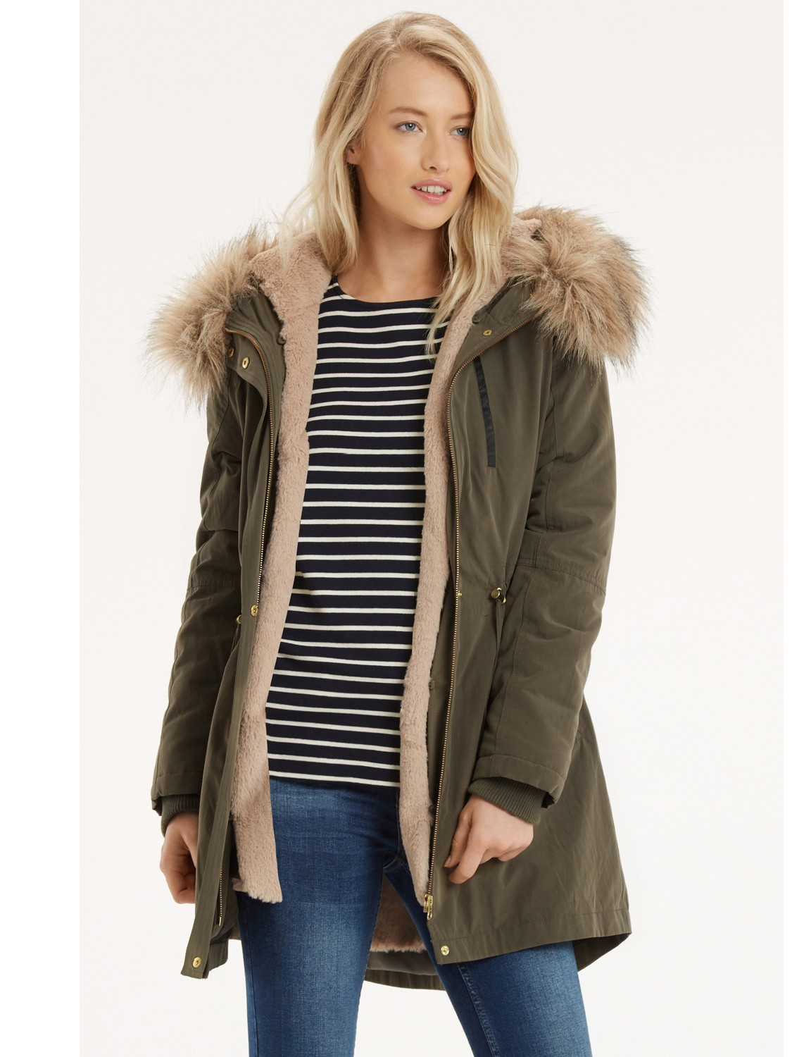 da77b3f78986 Oasis Laura Parka Coat in Green - Lyst