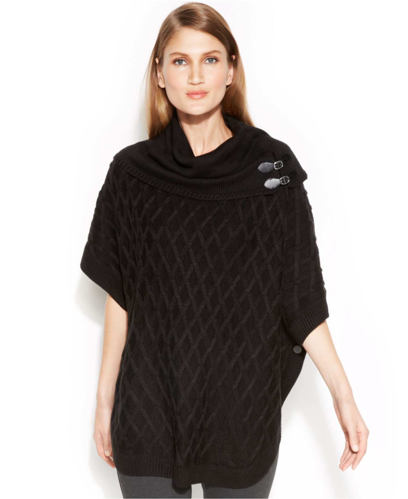 Calvin klein Cowl-Neck Poncho Sweater in Black | Lyst