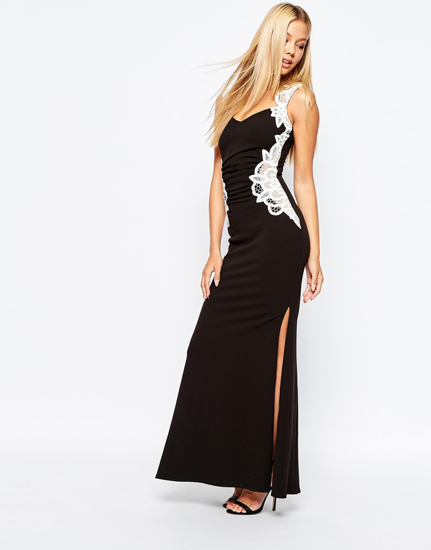 Black maxi dress with white lace