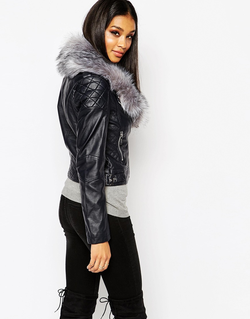 6e717855fbe Lipsy Michelle Keegan Loves Pu Jacket With Faux Fur Collar in Blue - Lyst
