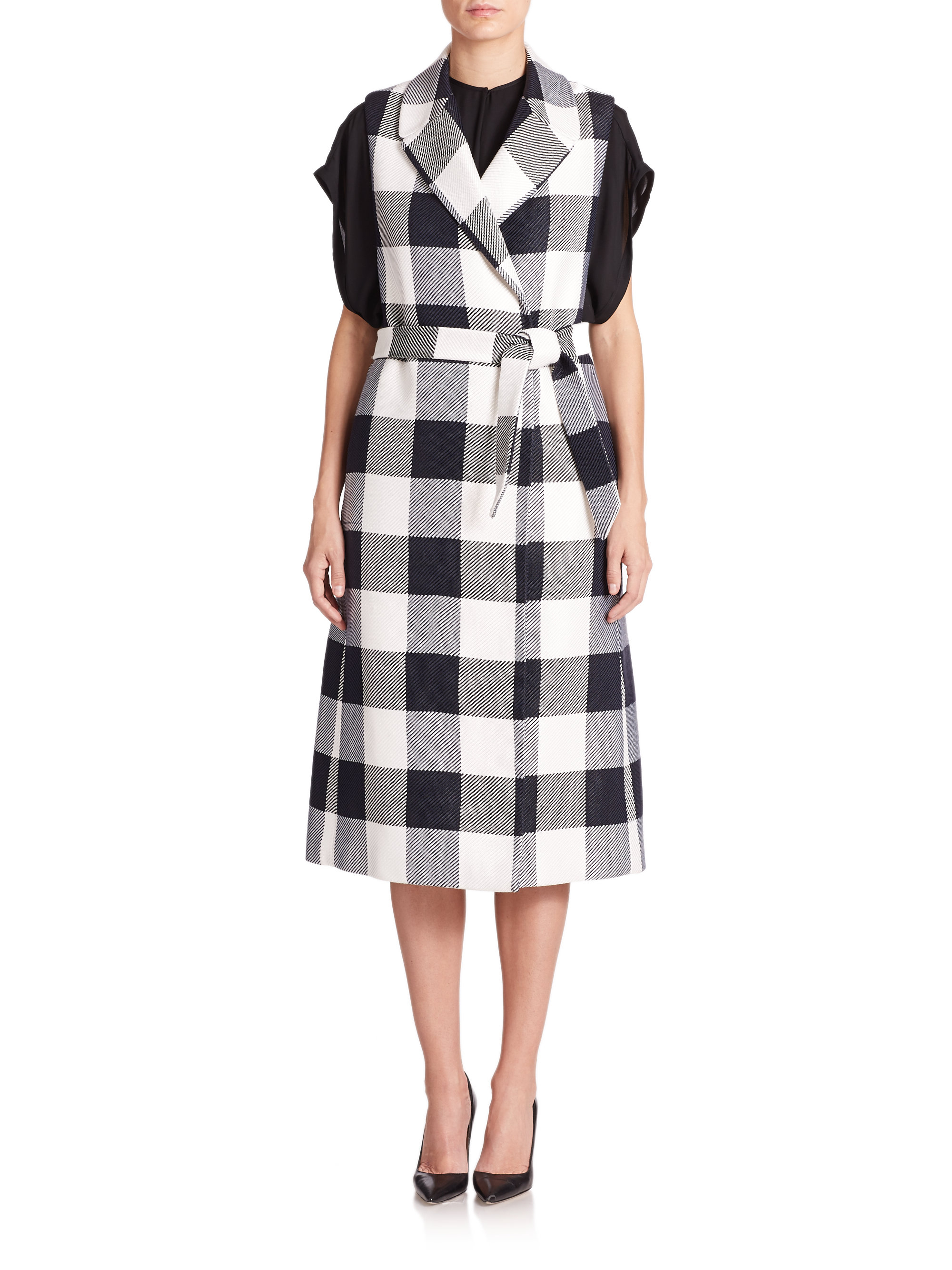 Tome Plaid Sleeveless Trench Coat in Black | Lyst