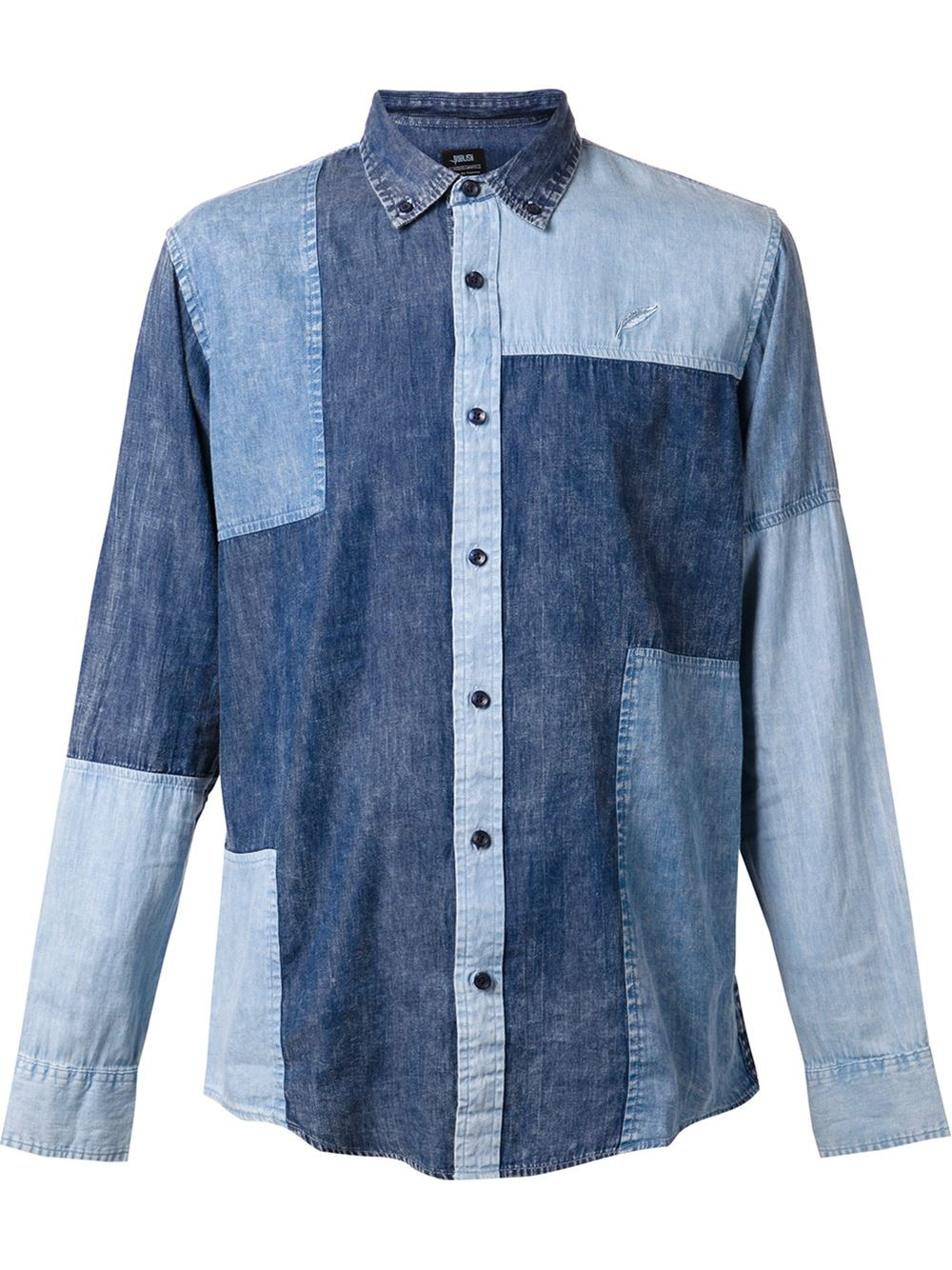 Lyst Timberland Patchwork Denim Shirt In Blue For Men