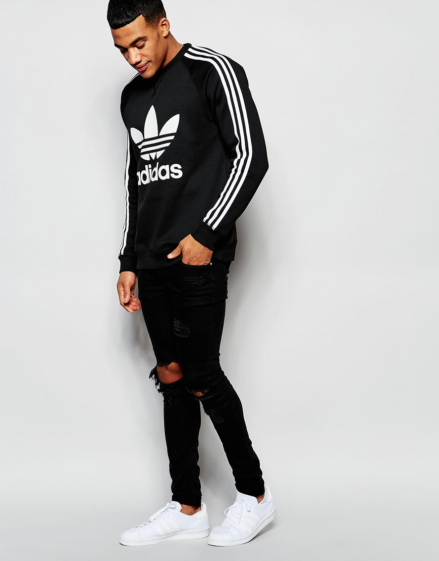 adidas originals trefoil sweatshirt ap8988 in black for. Black Bedroom Furniture Sets. Home Design Ideas