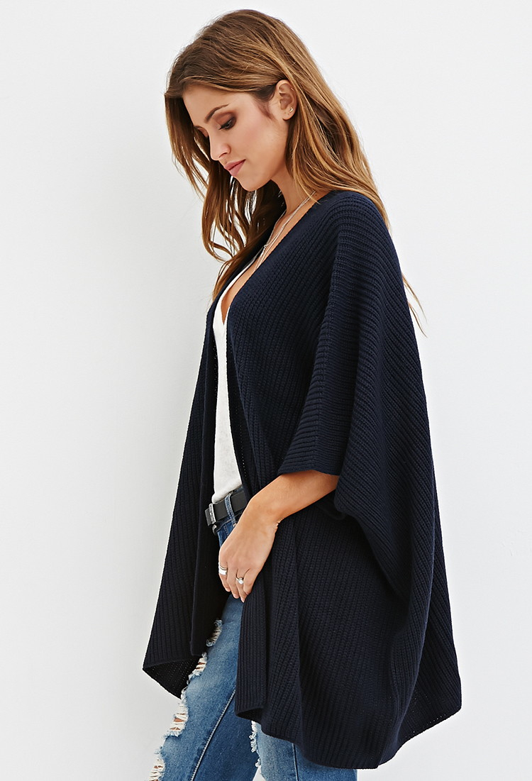 Forever 21 Open-front Ribbed Cardigan in Blue | Lyst