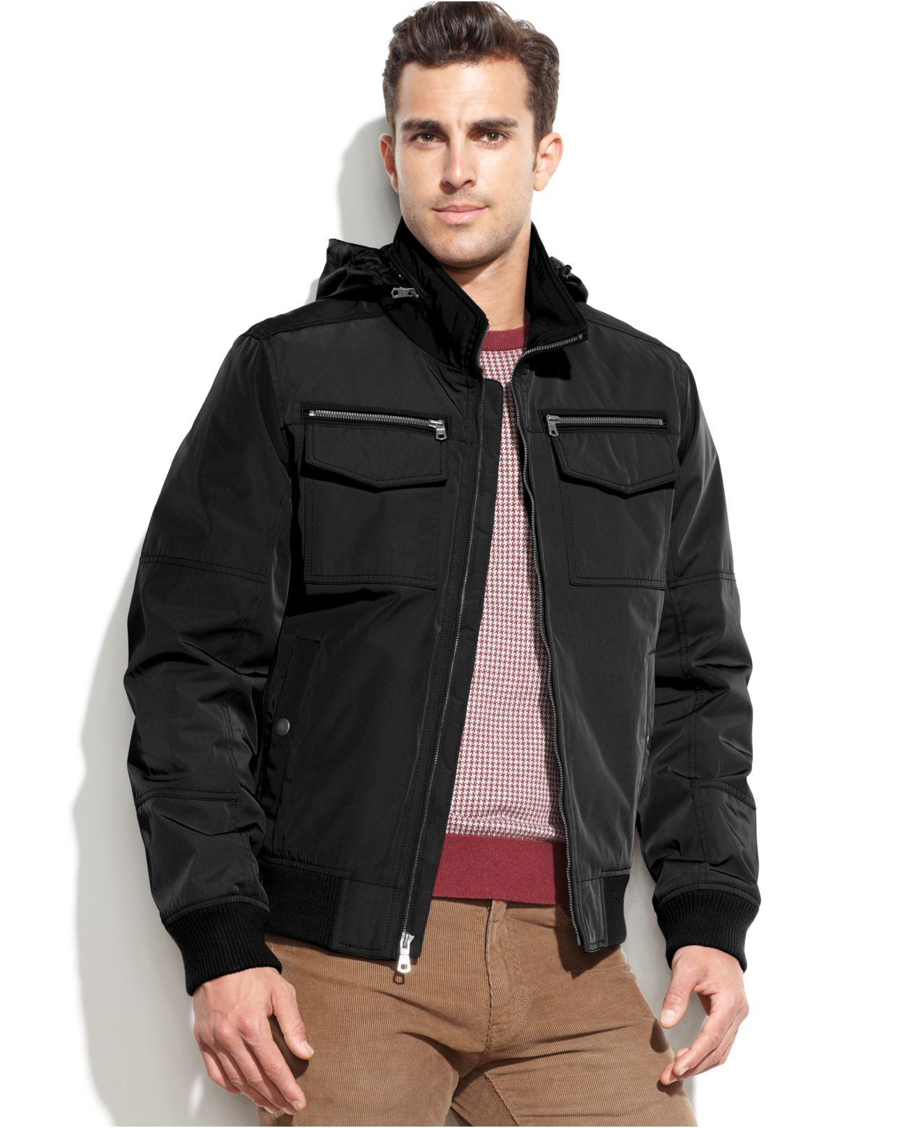 tommy hilfiger hooded bomber jacket in black for men lyst. Black Bedroom Furniture Sets. Home Design Ideas