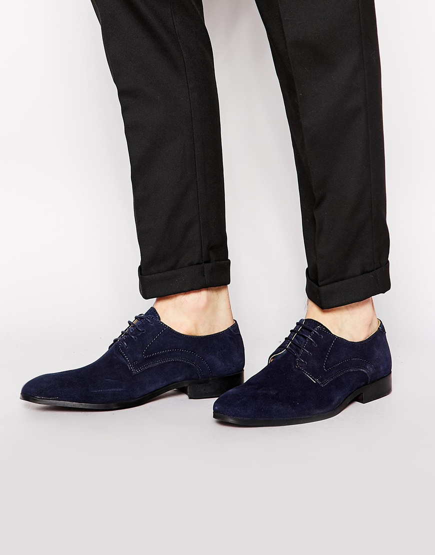 big sale cheap online 2015 new for sale ASOS DESIGN lace up shoes in navy suede with leather woven detail looking for sale online mpOKJ7FPa