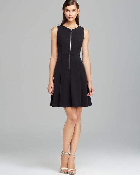 Calvin Klein Zip Front Fit And Flare Dress In Black Lyst