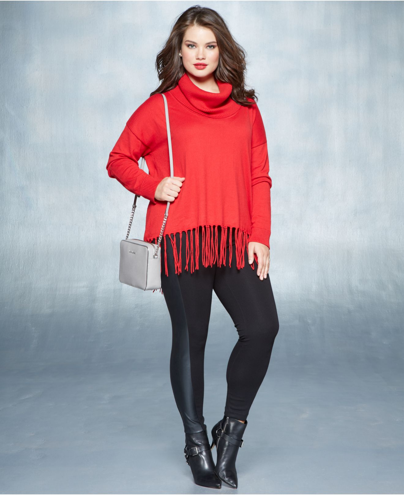 Michael kors Michael Plus Size Cowl-Neck Fringe Sweater in Red | Lyst