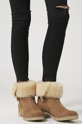 Topshop Alps Fur Lined Ankle Boots in Brown | Lyst
