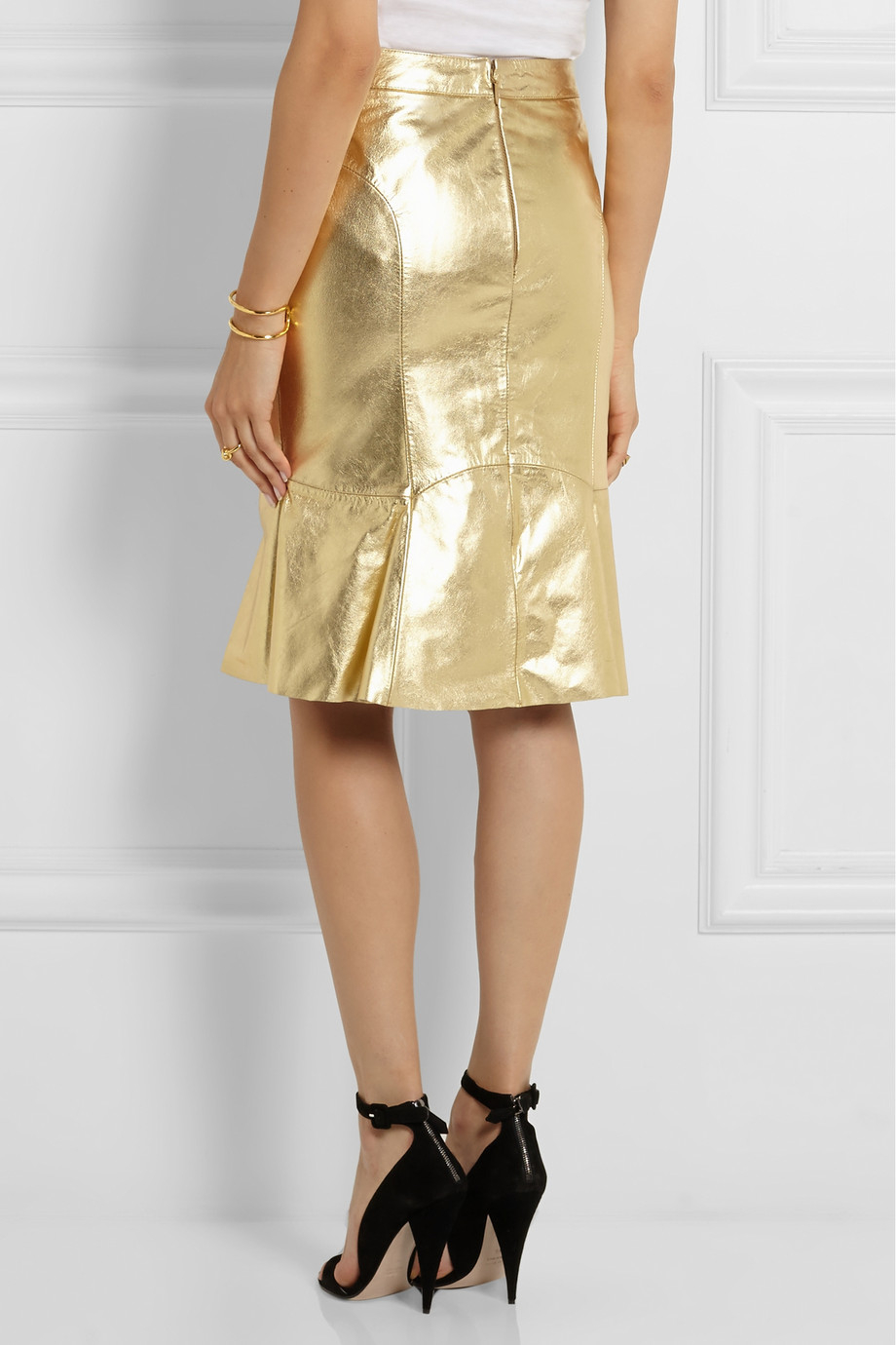 Boutique moschino Metallic Leather Skirt in Metallic | Lyst