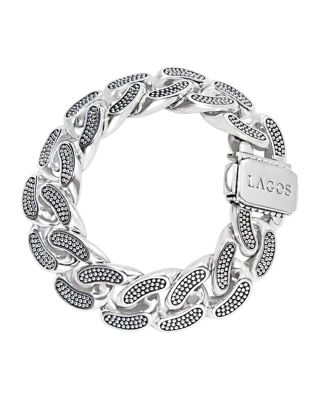 lagos caviar silver curb chain bracelet in metallic