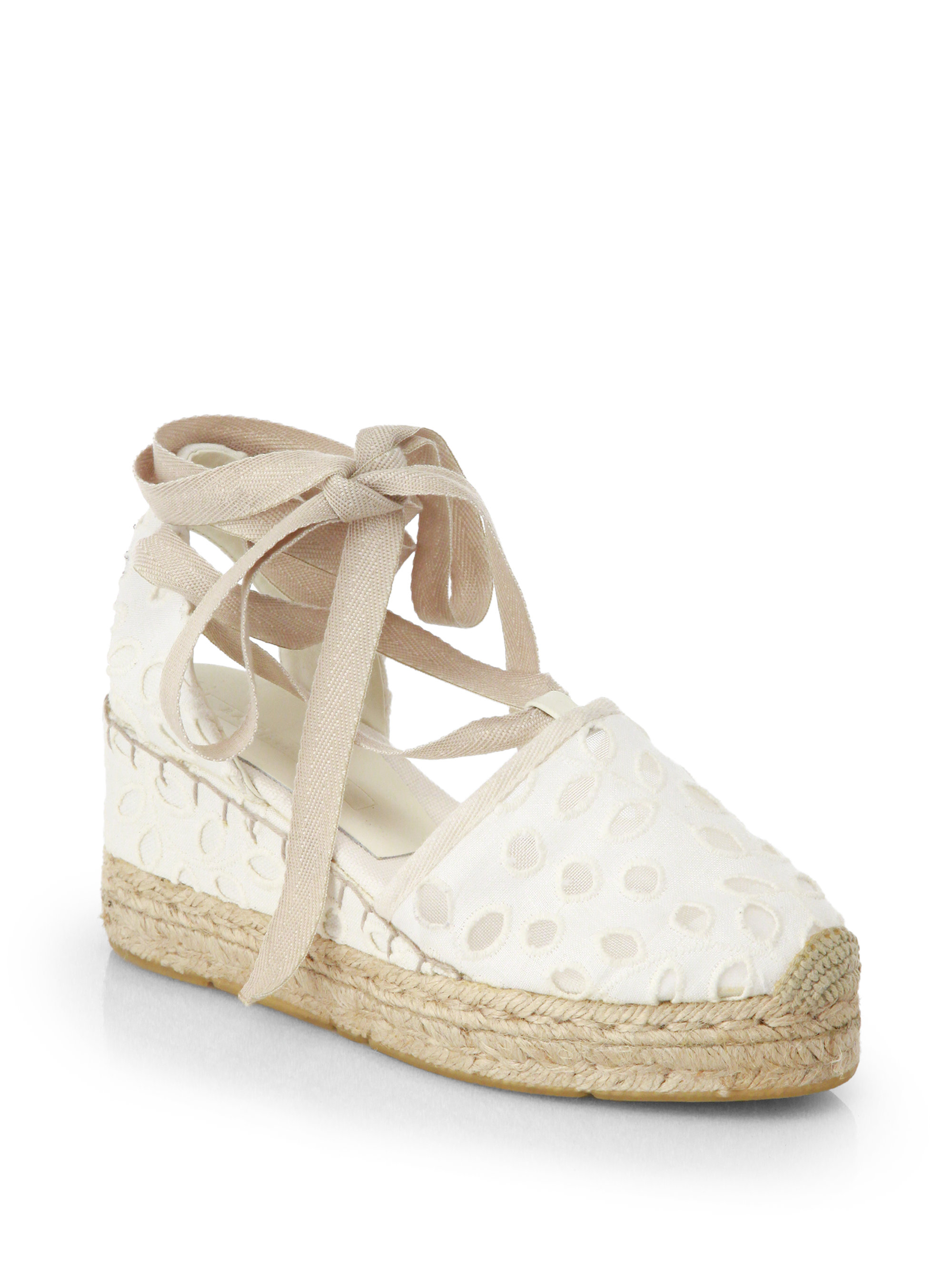 ralph lauren collection uma eyelet espadrille wedge sandals in beige cream lyst. Black Bedroom Furniture Sets. Home Design Ideas