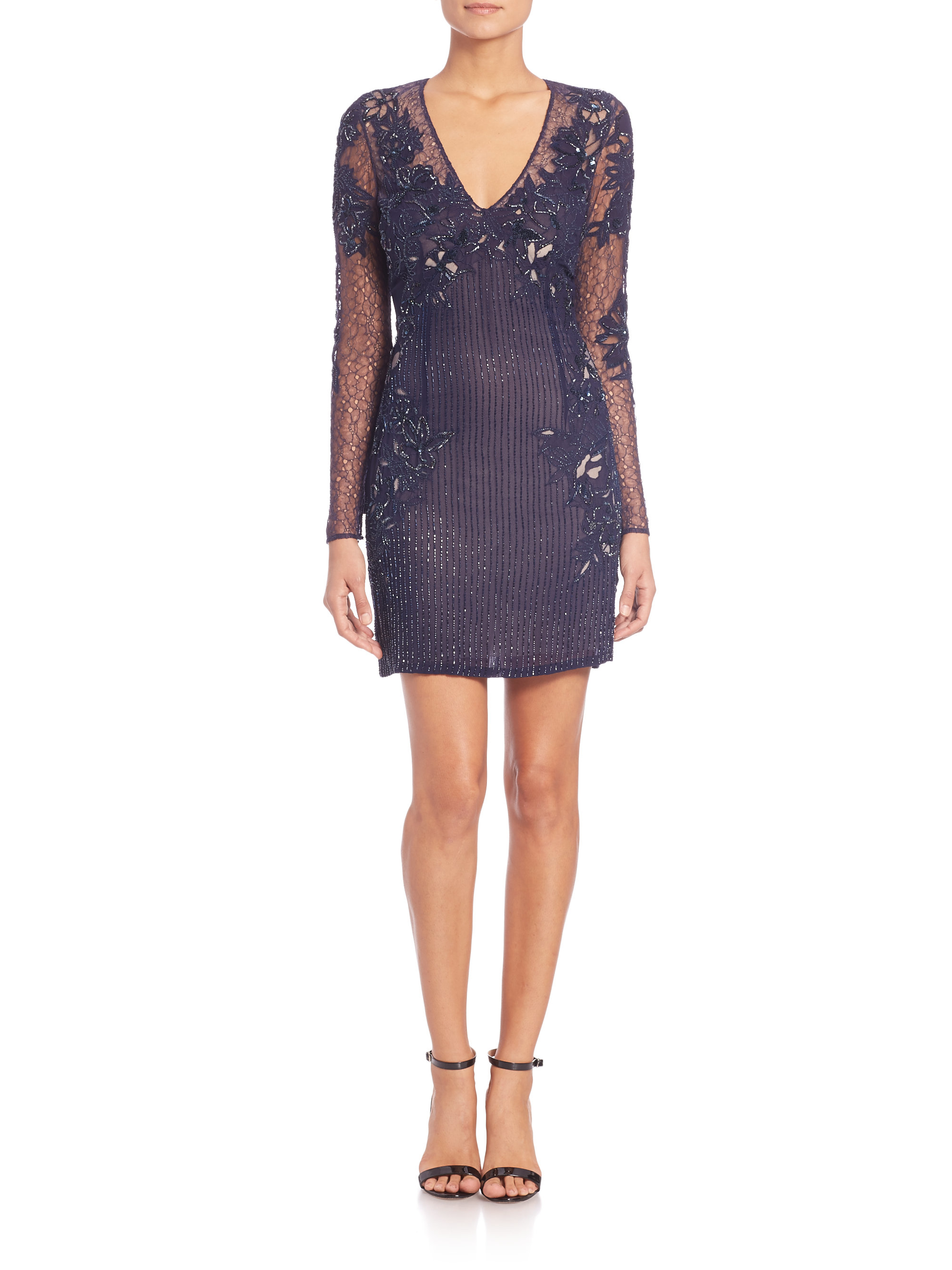Lyst - Roberto Cavalli Beaded Silk Georgette Dress in Blue