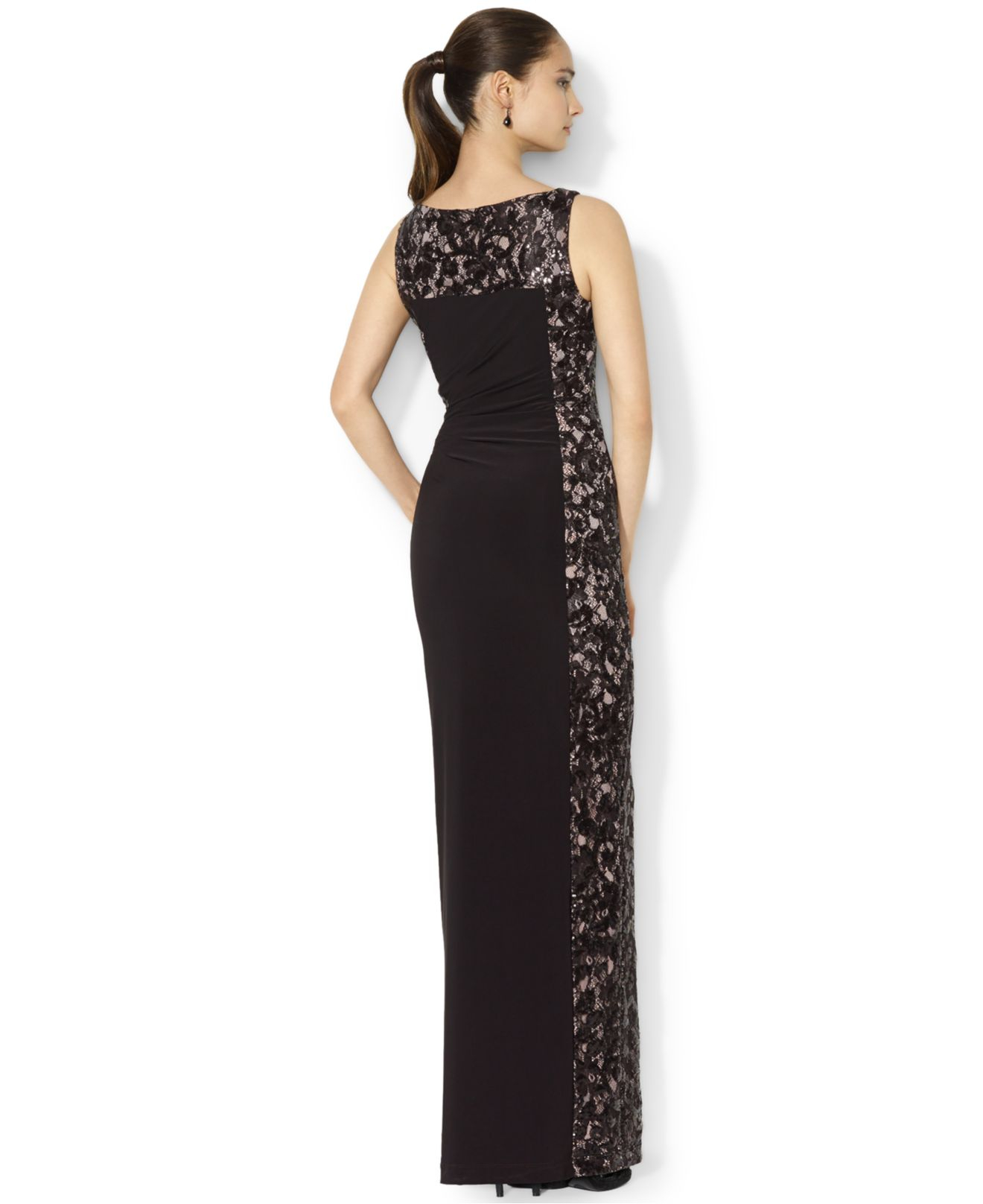 Lyst - Lauren By Ralph Lauren Petite Sleeveless Illusion-Lace Gown ...