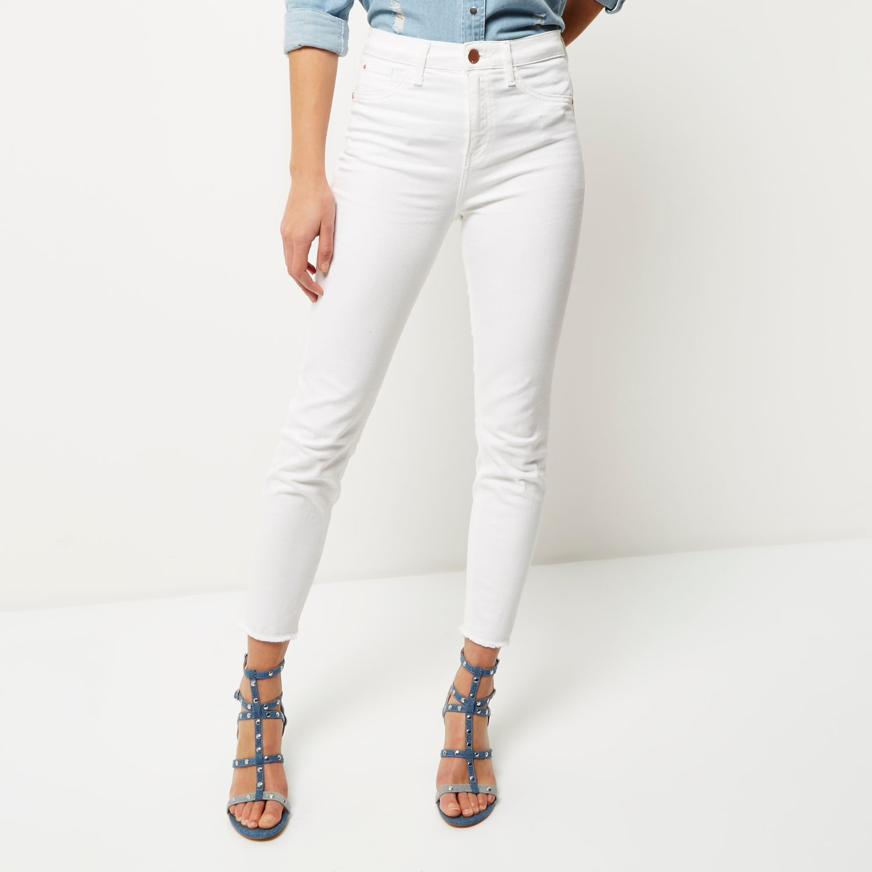 d864fc69 River Island White High Rise Lori Skinny Jeans in White - Lyst