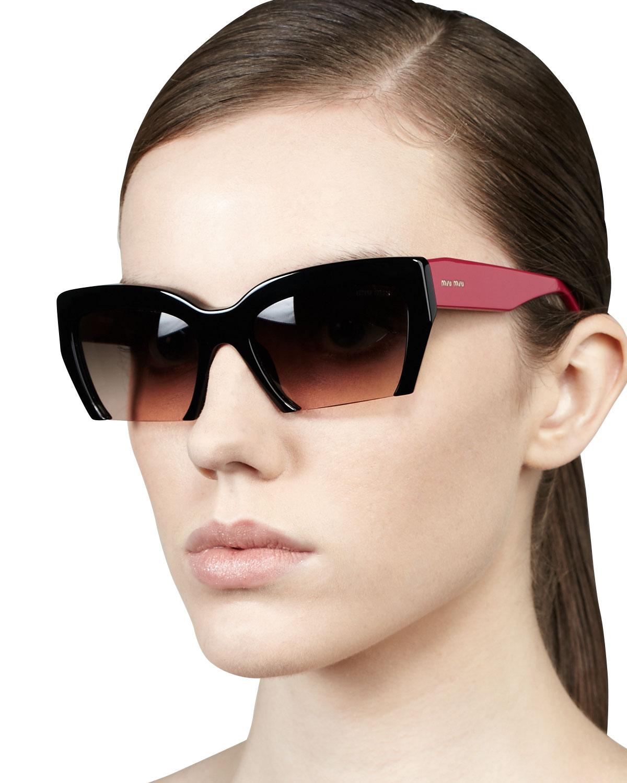 Miu Miu Sunglasses Round  miu miu rasoir cutoff square sunglasses in pink lyst