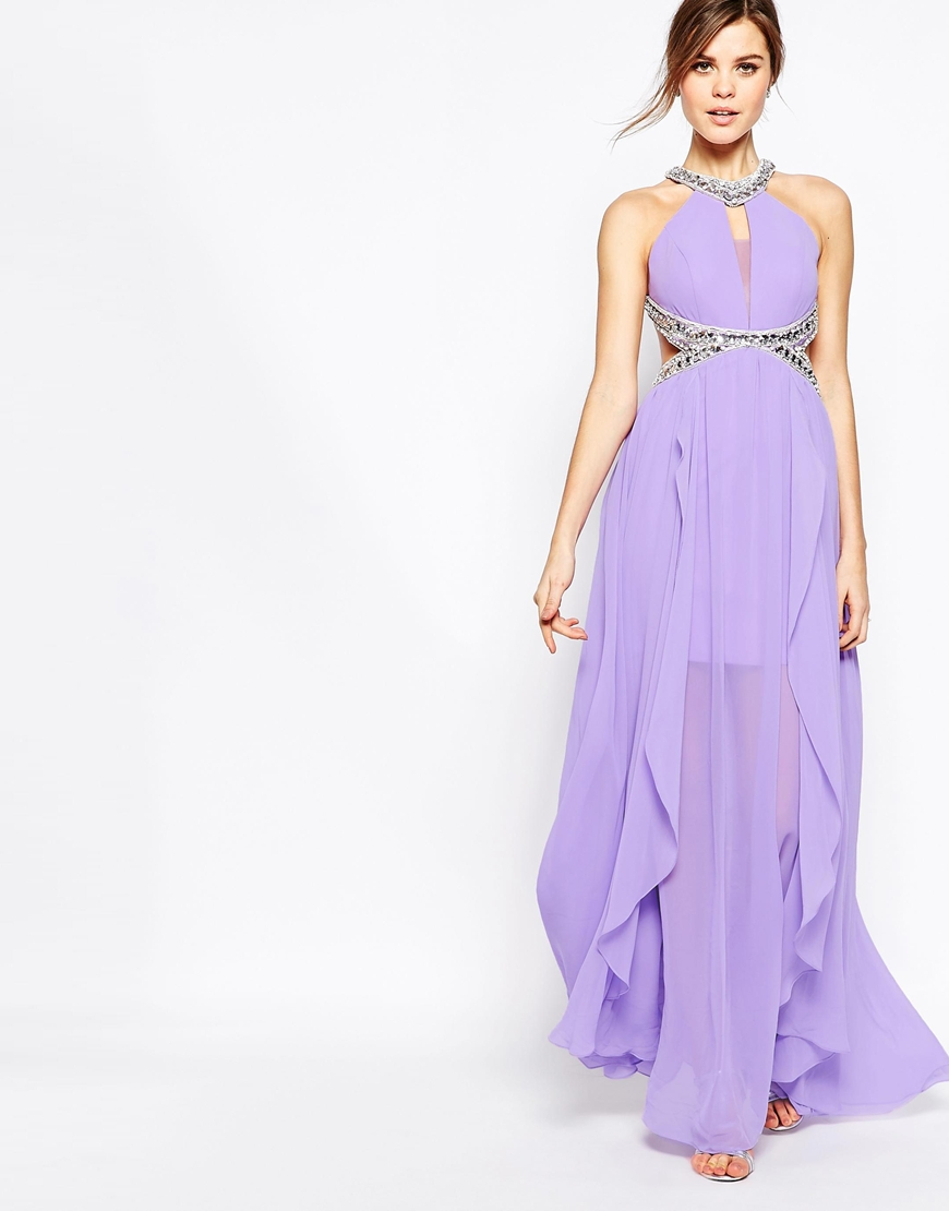 Purple halter neck maxi dress