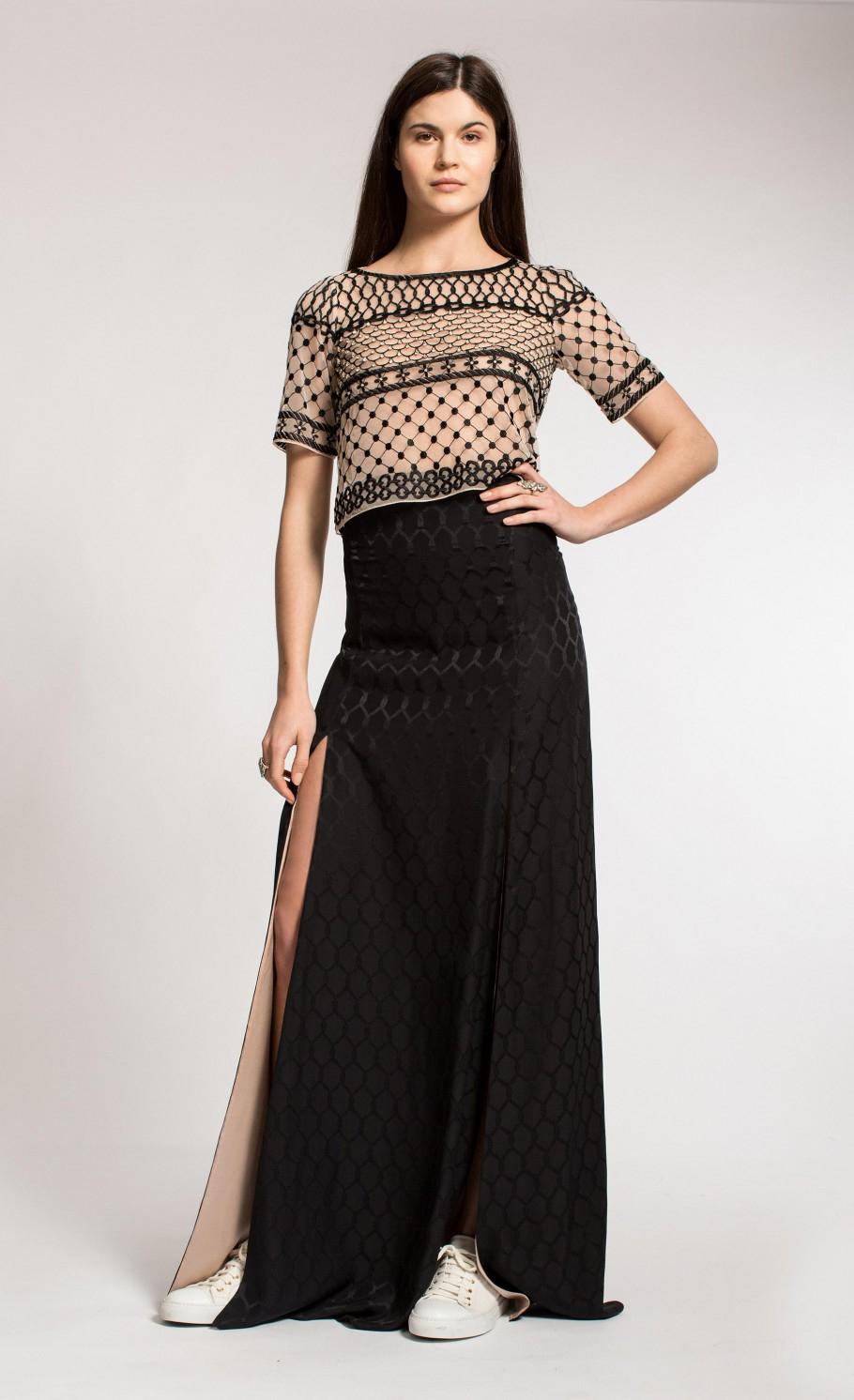 Temperley london Long Salerno Split Skirt in Black