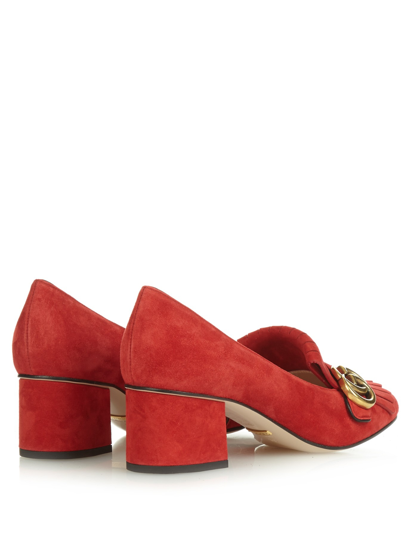 4a6f6b57314 Lyst - Gucci Marmont Fringed Suede Pumps in Red