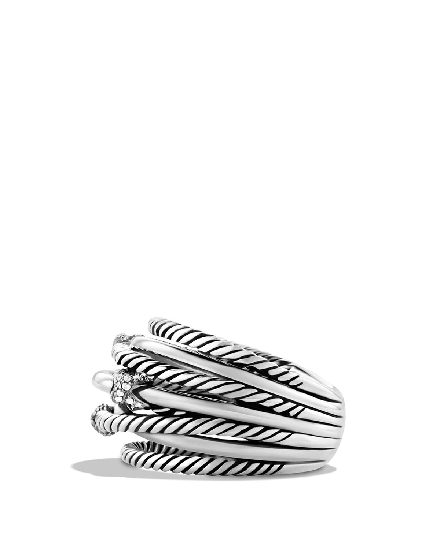 david yurman three x crossover ring with diamonds in