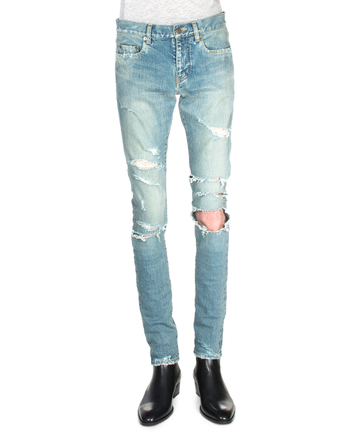 Saint Laurent Trashed Ripped Knee Denim Jeans In Blue For