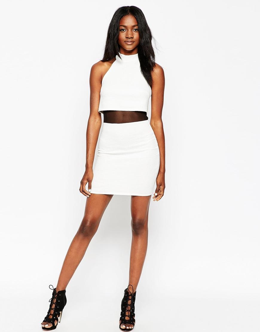 Lyst Asos High Neck Crop Top Mini Dress In Rib In White