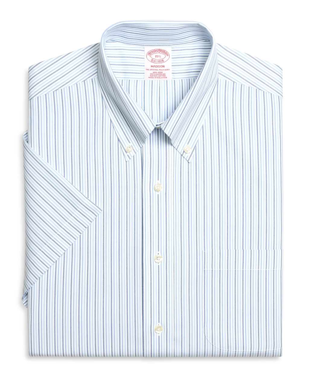 Brooks brothers non iron madison fit short sleeve tonal for Non wrinkle dress shirts