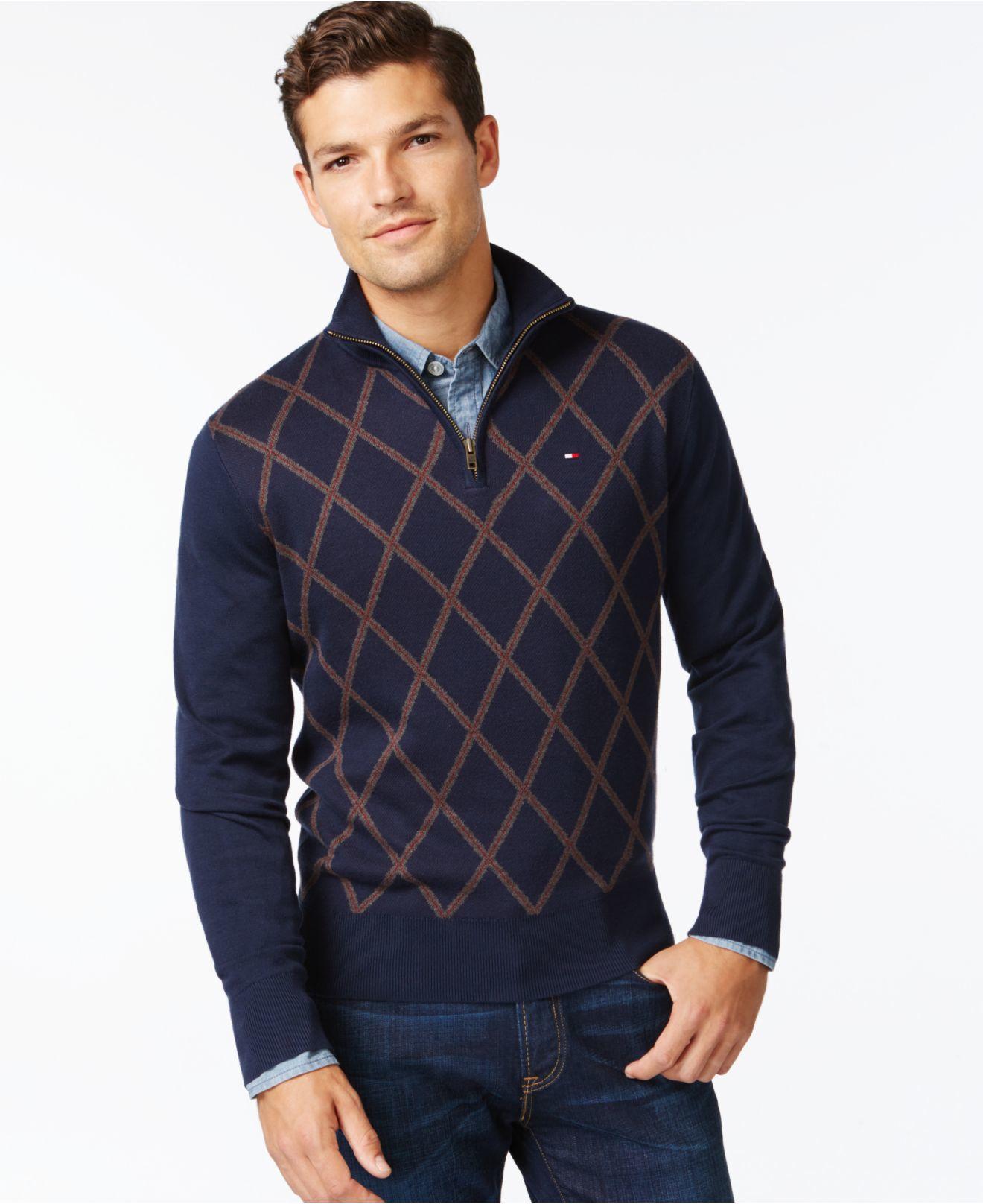 Tommy hilfiger Kenny Argyle Quarter Zip Sweater in Blue for Men | Lyst