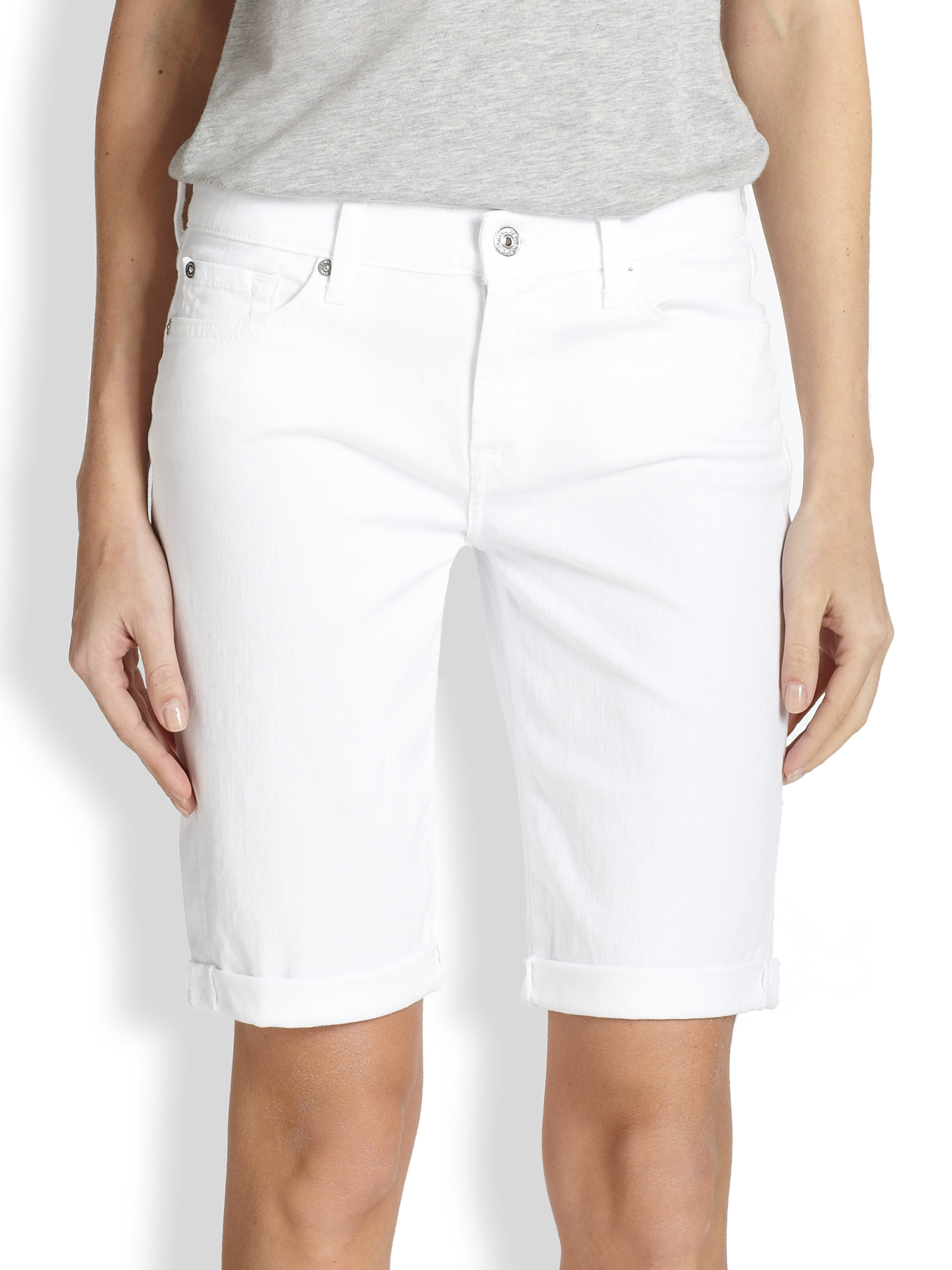 7 for all mankind Stretch Denim Bermuda Shorts in White | Lyst