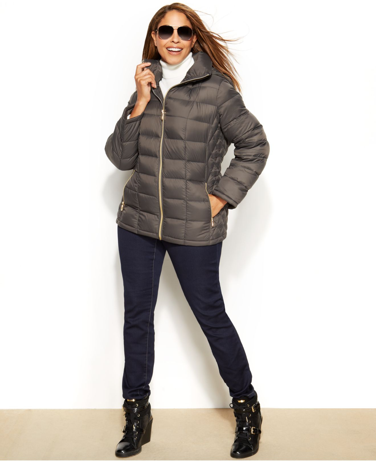 Michael Kors Michael Plus Size Hooded Quilted Down
