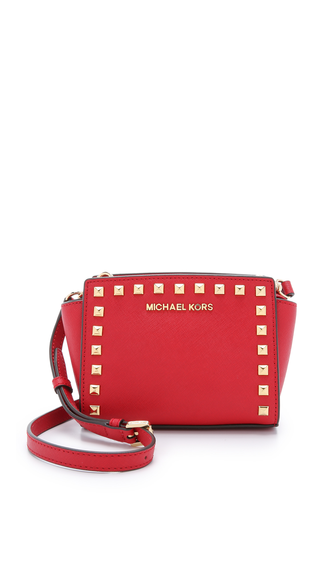 e69ac8a16b4f MICHAEL Michael Kors Selma Stud Mini Messenger - Navy in Red - Lyst