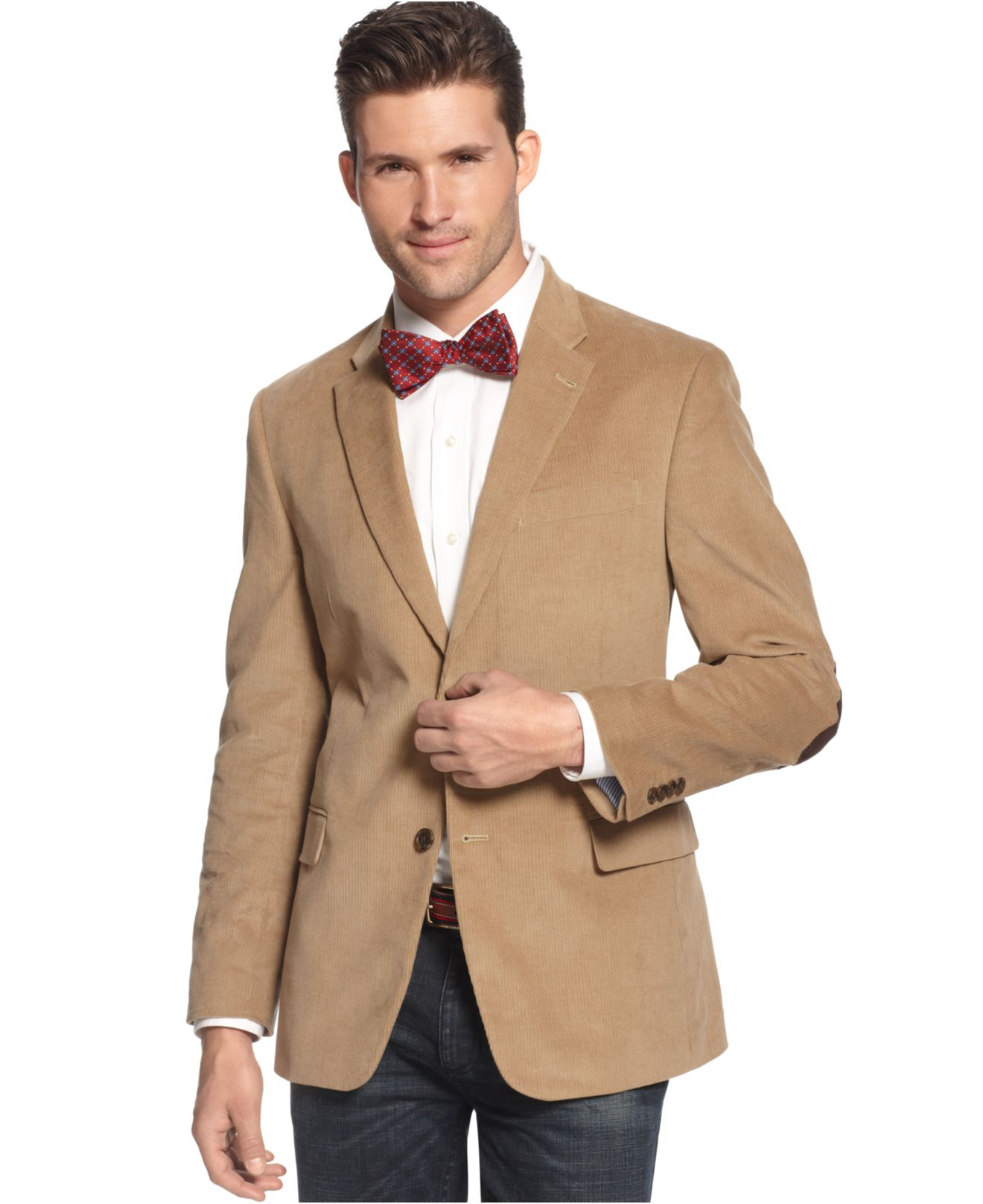 Tommy hilfiger Solid Trim-fit Corduroy Sport Coat With Elbow ...