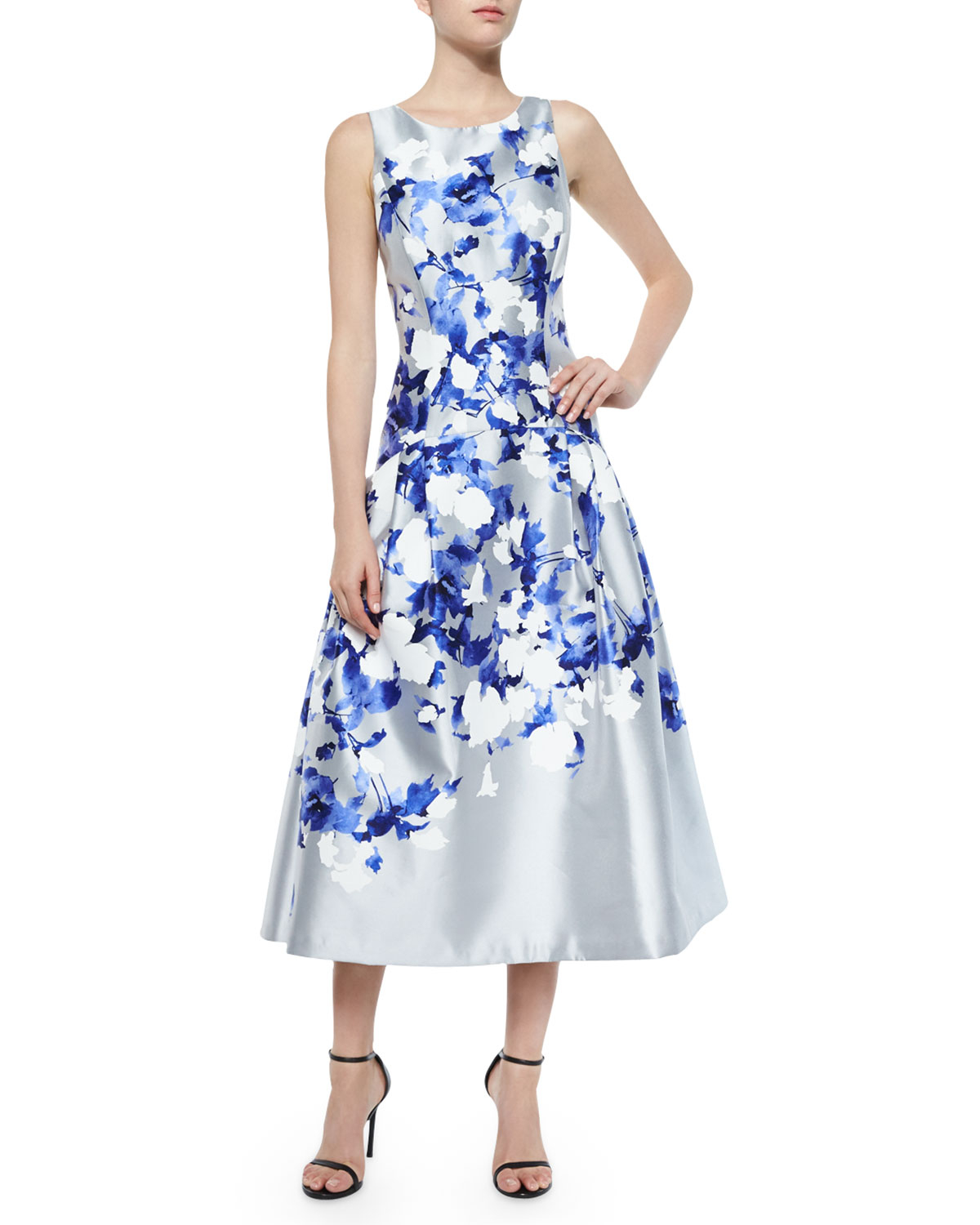 Lyst - Kay Unger Floral-Print Satin Dress in Blue