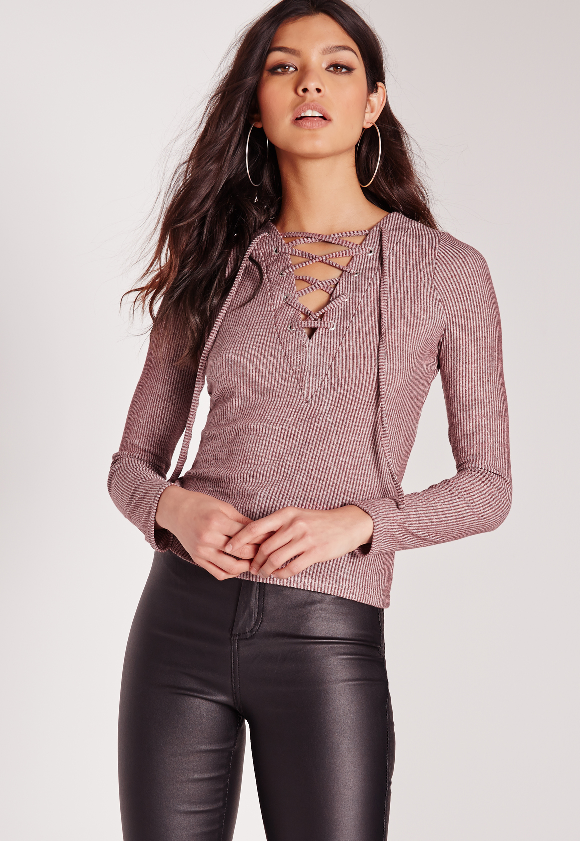 5e613bc643 Lyst - Missguided Long Sleeve Lace Up Front Crop Top Burgundy in Brown
