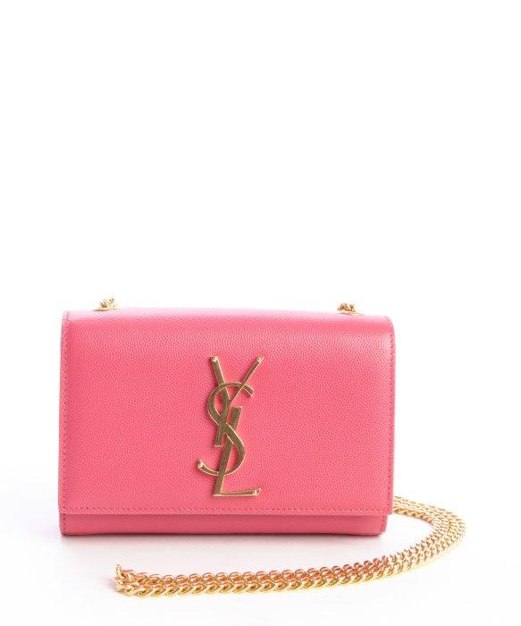 Lyst Saint Laurent Pink Leather Ysl Chain Shoulder Bag