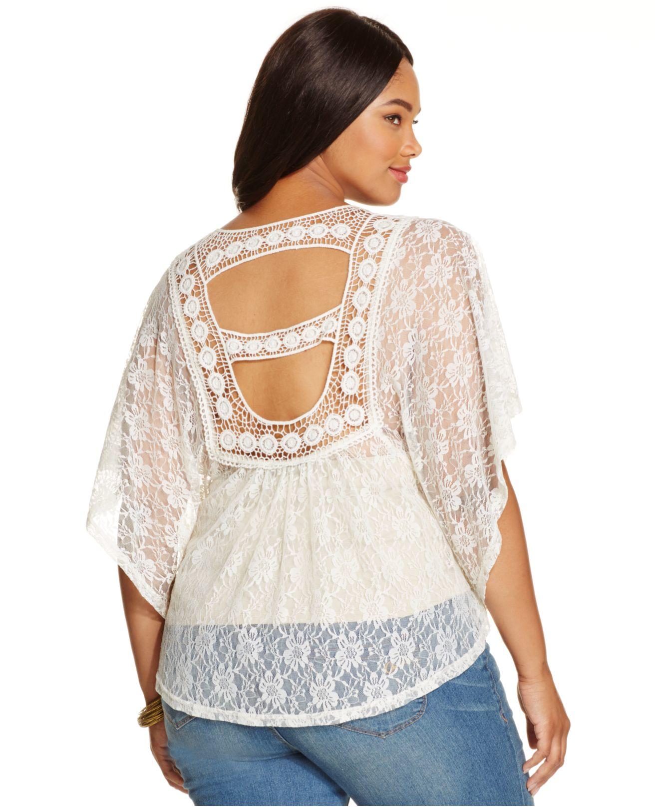 e6ca7858ecec2 Lyst - American Rag Plus Size Cutout-back Lace Poncho Top in Natural