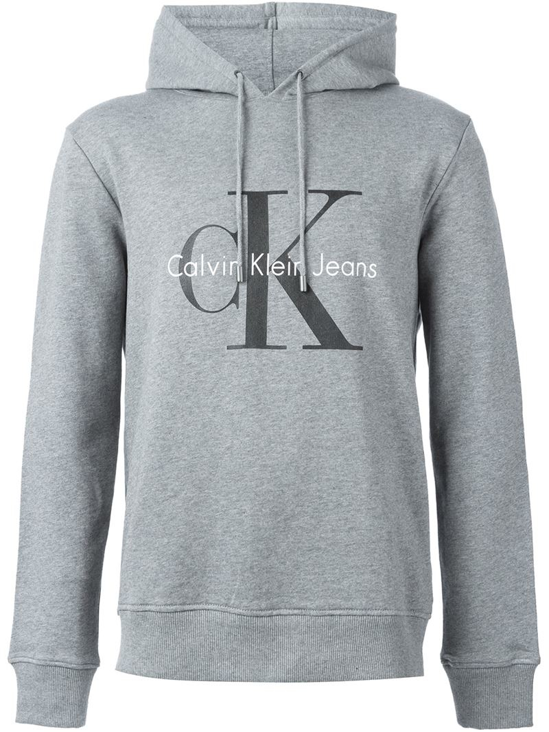 c4c544a15b03 Lyst - Calvin Klein Jeans Logo Print Hoodie in Gray for Men