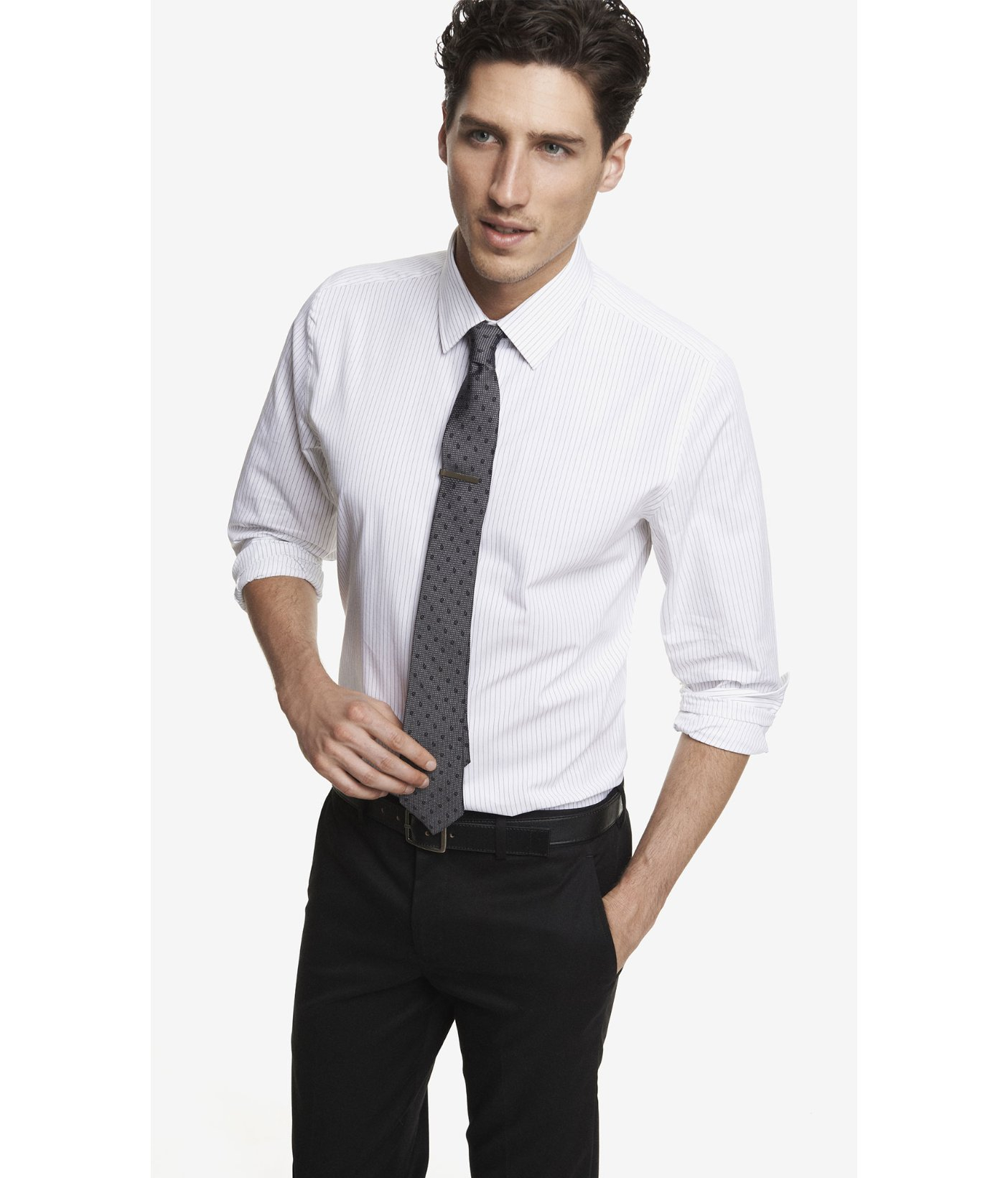 Lyst express modern fit striped dress shirt in white for men for Dress pants and shirts for men