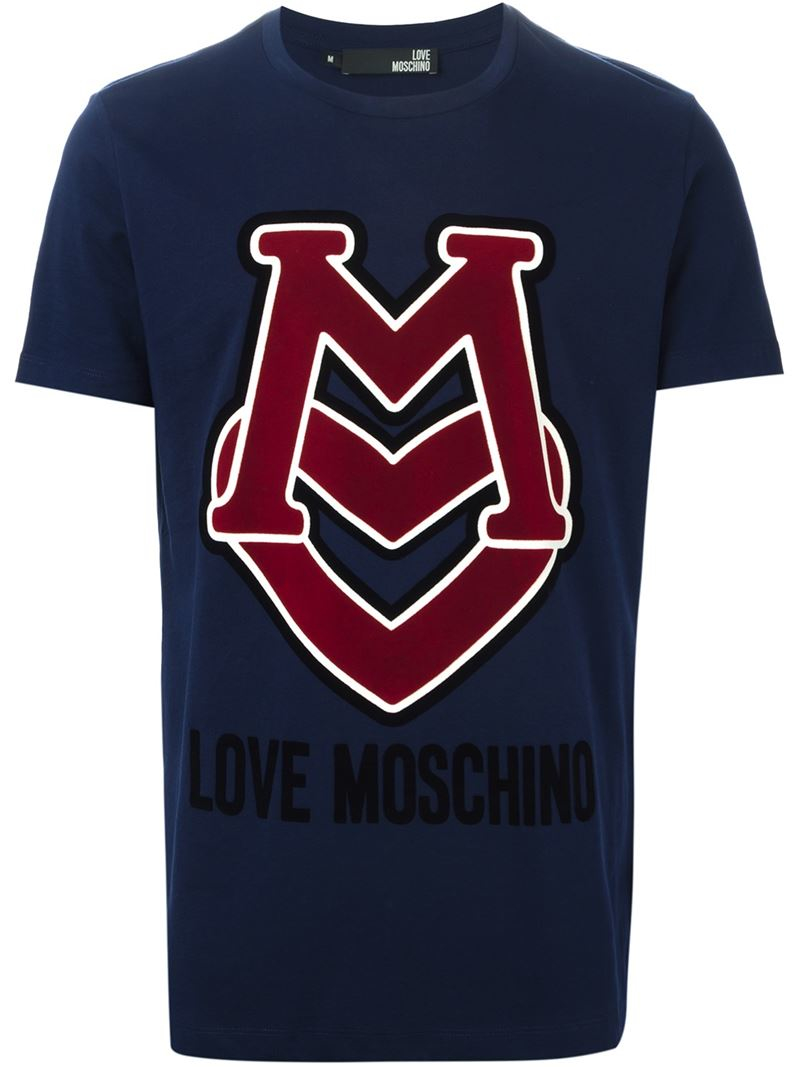 lyst love moschino logo print t shirt in blue for men. Black Bedroom Furniture Sets. Home Design Ideas