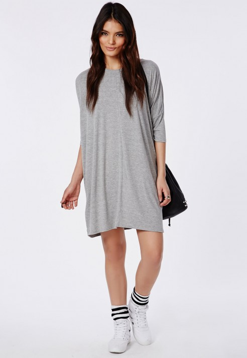 9a78bc1d56 Lyst - Missguided Oversized T-Shirt Dress Light Grey Marl in Gray