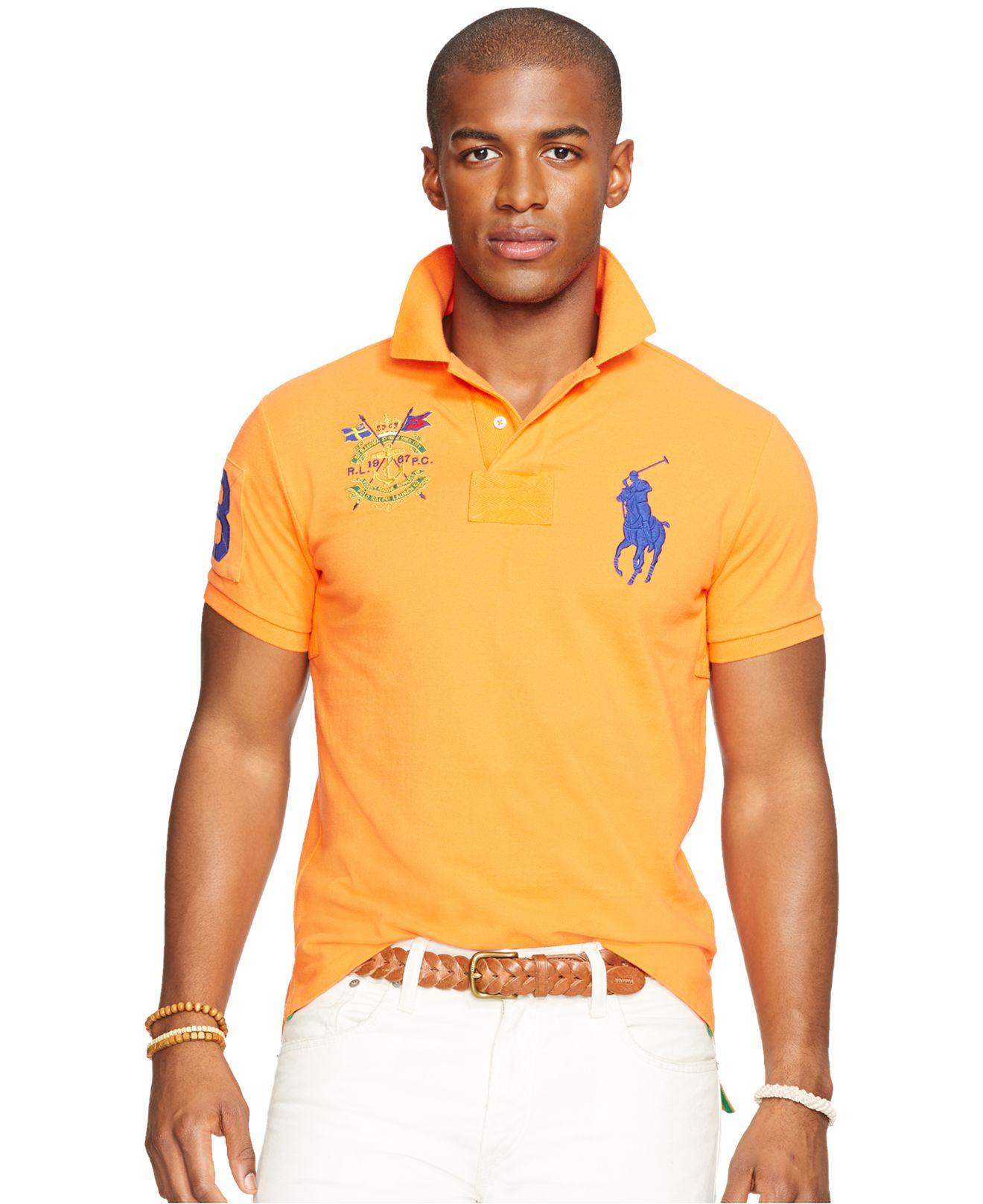 Polo ralph lauren custom fit big pony mesh polo shirt in for Polo ralph lauren custom fit polo shirt