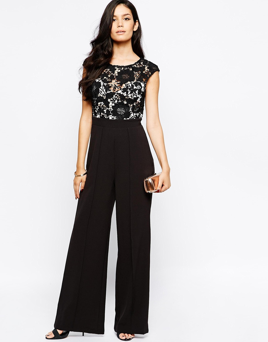 Lipsy Jumpsuit With Lace Top In Black | Lyst