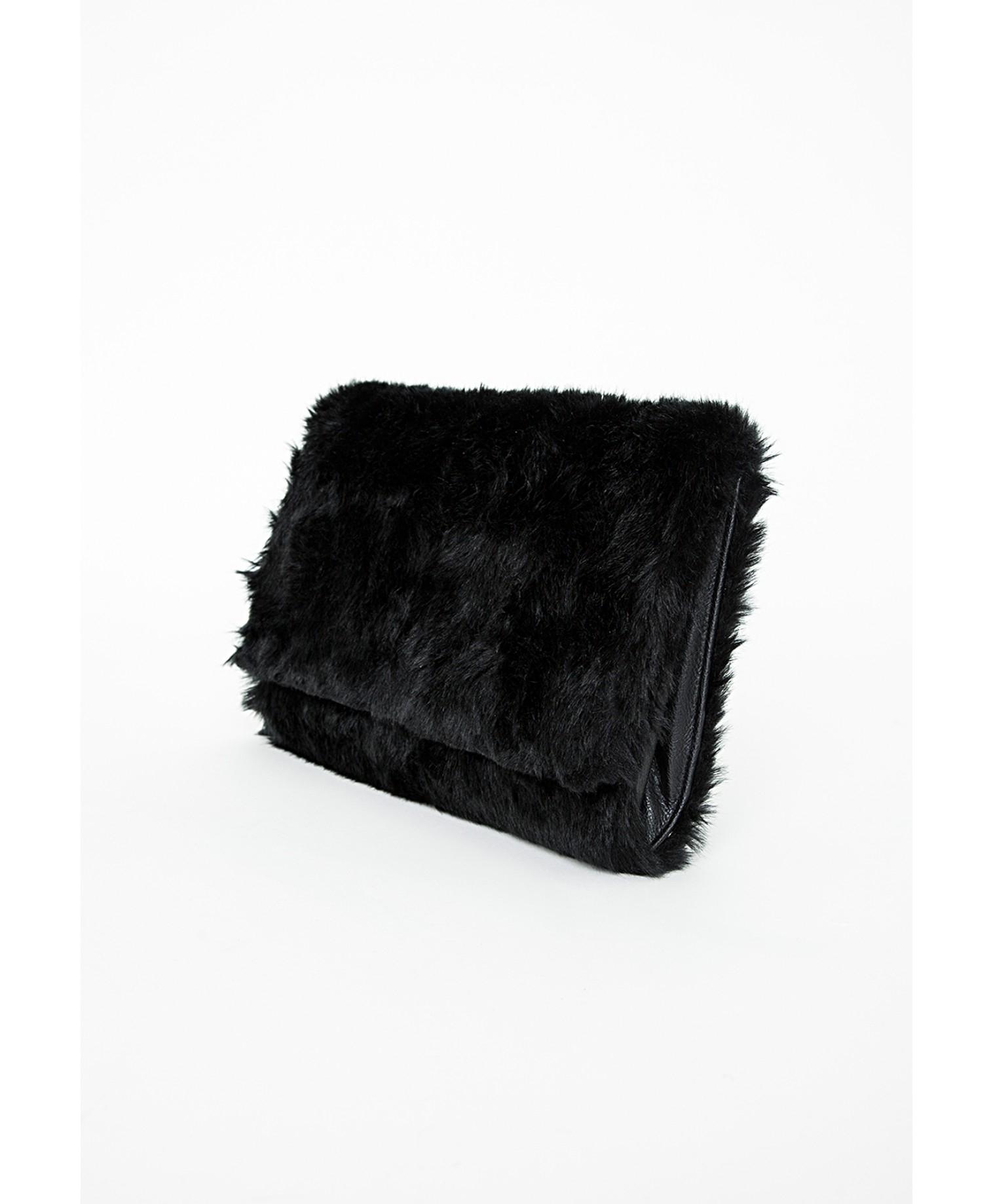 15e37b63af Lyst - Missguided Faux Fur Clutch Black in Black