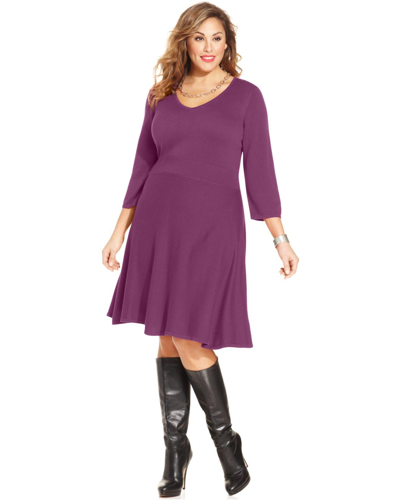 Spense Plus Size Three-Quarter-Sleeve A-Line Sweater Dress in Purple ...