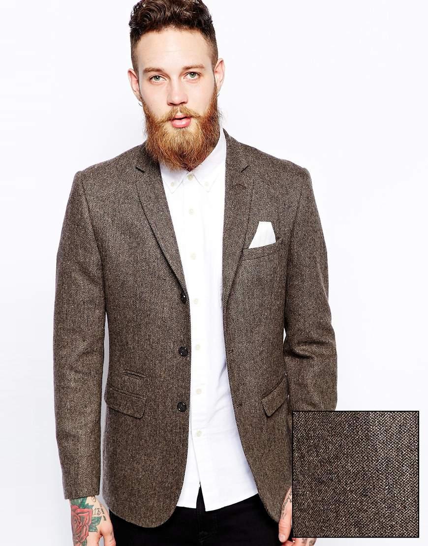Lyst - Asos Slim Fit Blazer In Tweed In Brown For Men